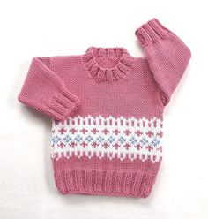 Fair Isle baby sweater  6 to 12 months  Knit baby by LurayKnitwear