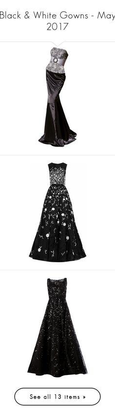 """""""Black & White Gowns - May 2017"""" by lynnspinterest ❤ liked on Polyvore featuring gowns, dresses, long dresses, doll clothes, oscar de la renta, vestidos, black white, floral gown, black and white evening dresses and black and white ball gowns"""