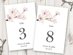 DIY printable wedding table numbers template Cherry Blossoms with cherry tree in pink. Traditional Sakura Japanese style design for your spring wedding or any other event. Instantly download, edit in MS Word and print your table number cards & signs in no time! ADD AS MANY TABLES AS