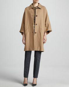 Camel Cocoon Coat, Leopard Cap-Sleeve Blouse & Scuba Jersey Side-Zip Pants by Escada at Neiman Marcus.