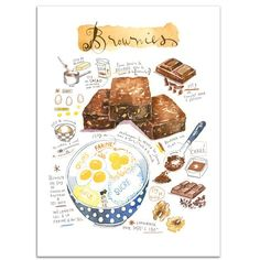 Brownies - Watercolor recipe illustration