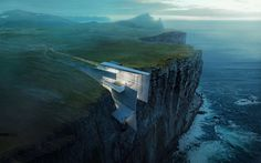 This daring concrete retreat carved into the cliffside in Iceland looks like a natural extension of the rough landscape. Architect and artist Alex Hogrefe designed the building as a reflection of the country's craggy glaciers with enviable ocean views. Architecture Design, Architecture Visualization, Amazing Architecture, Concrete Architecture, Architecture Panel, Architecture Portfolio, Historical Architecture, Residential Architecture, Contemporary Architecture
