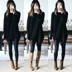 40 Ways to Style Leggings! - The Sister Studio Leggings Outfit Winter, Leather Leggings Outfit, Spanx Faux Leather Leggings, How To Wear Leggings, Sweaters And Leggings, Tops For Leggings, Dresses With Leggings, Leggings Fashion, Leggings Store