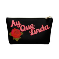 Ay Que Linda Latina Makeup bag Accessory Pouch W TBottom #ToiletryBag #SpanishMakeupBag #MakeupBag #FeministBag #PrettyMakeupBag #GirlfriendGift #LatinaGift #GiftForHer #Latinx #SpanishBag