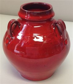 "The ""signature"" red glaze by Original Owens Pottery has exquisite depth and sheen which give the famous glaze its distinct look. This is a vase with 3 handles. Measurements: This red glaze is low fired Tuscan Decorating, Decorating Kitchen, Ceramic Pinch Pots, Red Vases, Colour Pallette, Carpet Colors, Cherry Red, Pottery Ideas, Persian Carpet"