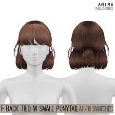 Female Back Tied Hair with Small Ponytail by Anima for The Sims 4 (Shoujo Series) New mesh AF (Teen to Elder) 16 swatches All LODs Anima is a sub-brand under CosplaySimmer. Downloa Female Back Tied Hair with Small Ponytail by Anima for The Sims Los Sims 4 Mods, Sims 4 Game Mods, Sims 4 Mods Clothes, Sims 4 Clothing, The Sims 4 Bebes, Sims 4 Anime, Mod Hair, Wavy Hair, The Sims 4 Cabelos