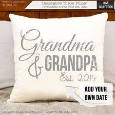 grandma and grandpa pillow grandparent Personalized Pillows, Handmade Pillows, Custom Pillows, Decorative Throw Pillows, Grandparents Christmas Gifts, Grandparent Gifts, Bob Marley, Grandma And Grandpa, Cotton Pillow