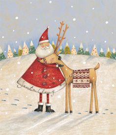 Lizzie Walkley - Santa And Rudolf Christmas Scenes, Christmas Tag, Winter Christmas, Vintage Christmas, Christmas Crafts, Christmas Decorations, Illustration Inspiration, Illustration Noel, Christmas Illustration