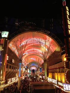 Looking out at the Fremont Street Experience from inside Oscar's Beef, Booze and Broads restaurant.