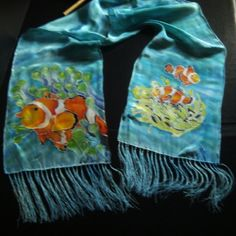 Clown Fish Hand dye painted 100% China Silk Scarf at the Shopping Mall, $64.99 (USD)