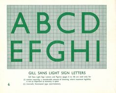 Gill Sans Light Sign Letters. British Railways Standard Signs designed by Eric Gill, 1948