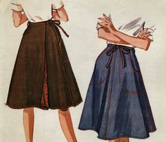 Wrap around skirts - you could even figure out how to make one without a pattern.