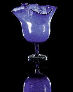 Blue goblet in form of a blossom. Late Antique / Early Byzantine Period, 4th - 6th century A.D.
