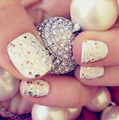 Silver and Gold Glitter Manicure
