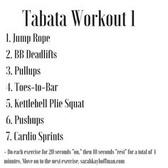 Three Tabata Workouts you can do in under 30 minutes. http://sarahkayhoffman.com