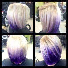 Purple and blonde by Lexie at Fringe Salon lennon mi Hair Color And Cut, Haircut And Color, Cool Hair Color, Hair Colors, Purple Hair, Ombre Hair, Corte Y Color, Coloured Hair, Rainbow Hair