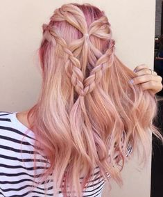 Long Wavy Hairstyle Braided Hairstyles Updo, Braided Half Updo, Easy Hairstyles For Medium Hair, Cool Hairstyles, Hairstyle Braid, Hairstyle Ideas, Updos, Wedding Hairstyles, Long Curly Hair