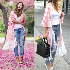 Vintage Print Half Sleeve Kimono #zaful