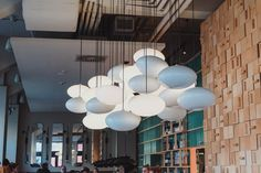 cloud-like light fitting at di dineete, wroclaw