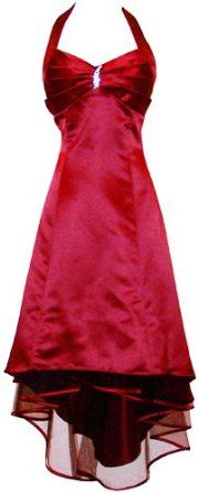 Satin Halter Dress Tulle Mini Train Prom Bridesmaid Holiday Formal Gown Junior Plus Size,$69.99$69.99