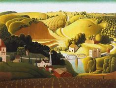 Scarlet Quince cross stitch chart: Stone City, Iowa - Grant Wood