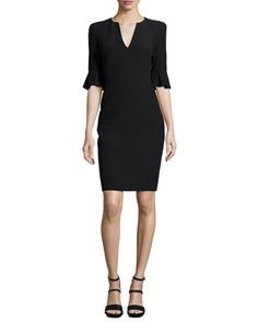 Bell-Cuff VNeck Sheath Dress Alexander+McQueen