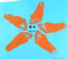 Sea Star Footprint Art Crafts for Kids! 17 Easy Summer Beach Themed Crafts and Activities for Kids. Shells, critters, sand and memories these beach themed crafts for kids so fun. Toddler Art, Toddler Crafts, Arts And Crafts For Kids Toddlers, Infant Crafts, Ocean Crafts, Starfish Crafts, Ocean Themed Crafts, Ocean Animal Crafts, Starfish Art