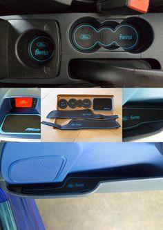 Blue interior rubber matt set for Ford Fiesta MK7
