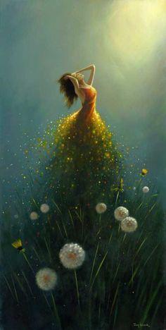 Dandelion Flower Fairy by Jimmy Lawlor Jimmy Lawlor, Dream Art, Fine Art, Belle Photo, Painting & Drawing, Dream Painting, Painting Canvas, Amazing Art, Fantasy Art