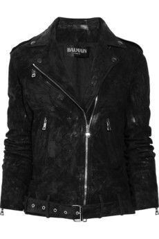 Balmain | Distressed suede motocross jacket | NET-A-PORTER.COM - StyleSays