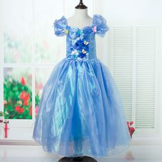 Summer Wear Cinderella Princess Girls Children Short Sleeved Dress Kids Clothing Blue Mesh Butterfly #Affiliate
