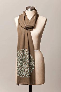 jersey scarf  dahlia flower scarf  army green  screen by flytrap