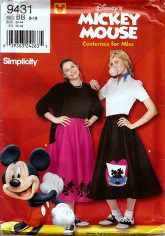 Simplicity 9431 Misses Size 8 - 18 Disneys Mickey Mouse 50s Swing Skirt Costume #Simplicity #DisneysMickeyMouseCostumesforMiss