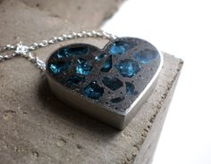 Polished Concrete...Unusual but beautiful jewelry  Black and Blue by DrCraze on Etsy, $76.00