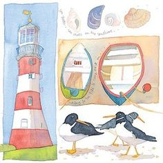 Emma Ball Coastal Scenes Greetings Card Oystercatchers & Shells