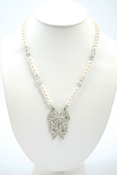 Great Gatsby Inspired  $155.00  Art Deco Rhinestone Bow With Pearls Necklace. Photos courtesy of Kanisha Lauren Photography.