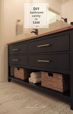 the old vanity in my kids' bathroom As you all should know by now, I recently gave my kids' bathroom a renovation on a budget, and one of the biggest challenges of this reno was figuring out …
