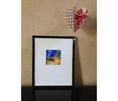 Bleu valentine Monotype exemplaire unique oeuvre par PrettyMatter