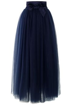 Amore Maxi Tulle Prom Skirt in Navy - Retro, Indie and Unique Fashion