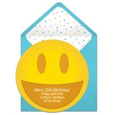 Customizable, free Smiley online invitations. Easy to personalize and send for a emoji party. #punchbowl
