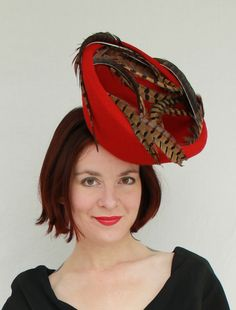 """1940s-style """"extreme breton"""" red felt tilt hat with spirals of Ringneck Pheasant feathers"""