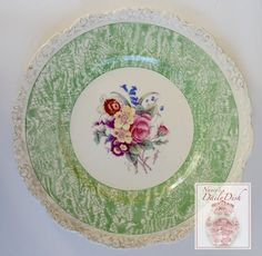 Circa 1930 Faux Bois Green Hand Painted English Transferware Charger P