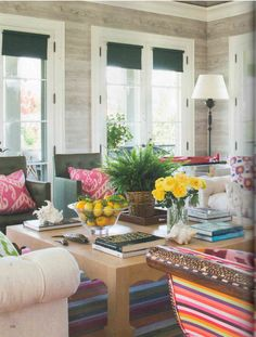 Madeline Weinrib Ikat Pillows featured in July 2014 Veranda Magazine Family room vibe love the upholstered inlayed chaise fun colors Living Room Designs, Living Room Decor, Living Spaces, Living Rooms, Living Room Inspiration, Interior Inspiration, Paneled Walls, Plank Walls, Wood Walls