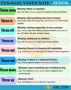 Phrasal verbs with throw english tips, english for beginners, english vinglish, english idioms English Vinglish, English Phrases, English Idioms, English Study, English Lessons, English Tips, French Lessons, Spanish Lessons, Teaching English Grammar