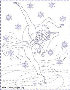 Ice skating princess coloring pages