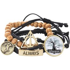 WB Harry Potter Deathly Hallows Bracelet Set ($9.45) ❤ liked on Polyvore featuring jewelry, bracelets, harry potter, black, hogwarts and warner bros.