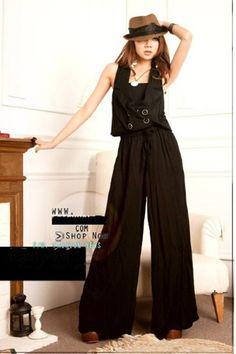 Personality Four Buckle Elastic-waist Jumpsuit Black