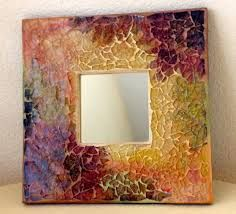 This Autumn Colored Tempered Glass Mosaic Mirror measures 10 x 10 this mirror glistens with glitter throughout and is ready to hang. The inset mirror measures 3 x 3 Mosaic Wall Art, Mirror Mosaic, Mosaic Glass, Mosaic Tiles, Glass Art, Stained Glass Patterns, Mosaic Patterns, Picture Frame Decor, Mosaic Madness