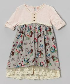 Love this Pink & Purple Birds Henley Babydoll Dress - Toddler & Girls on #zulily! #zulilyfinds