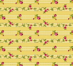 1/2 Yard Quilt Fabric Vintage Pillowcase Stripe Yellow Rosebuds Cotton   auntiechrisquiltfabric - Quilts on ArtFire
